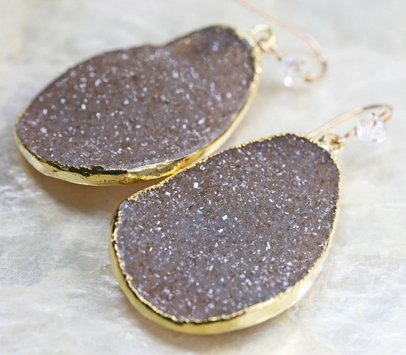 Druzy Earrings - Brown Druzy Earrings -  LARGE Druzy Earrings - Dangle Earrings- Ready to Ship -