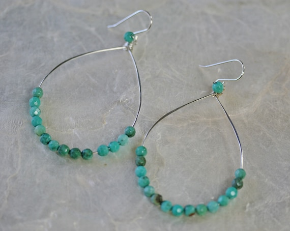Beaded Green Chrysoprase Hoop Earrings in Sterling Silver