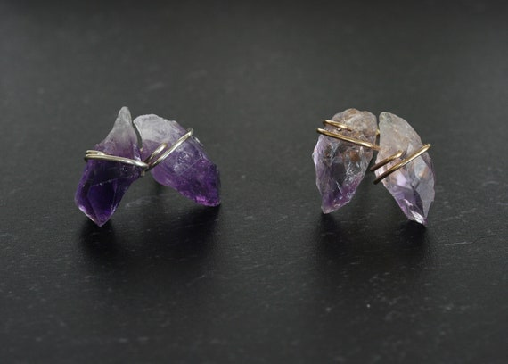 Raw Amethyst Crystal Stud Earrings