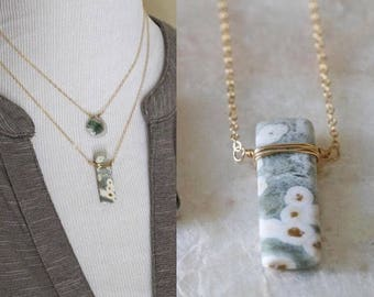 Ocean Jasper Necklace, Jasper Slice Necklace, Minimalist Jasper Necklace, Wire Wrapped Ocean Jasper Necklace, Small Jasper Necklace