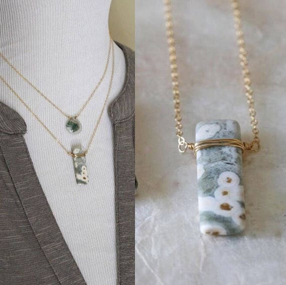 Ocean Jasper Necklace on Sterling Silver or Gold Chain