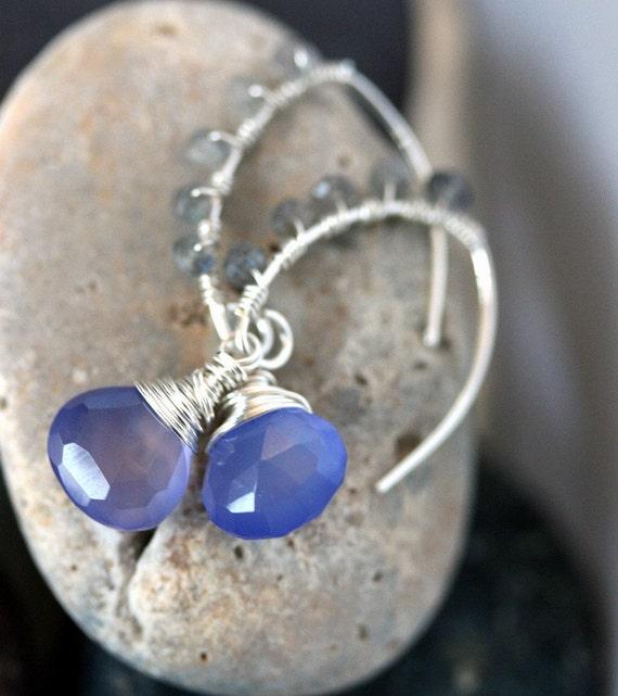 Chalcedony Earrings, Labradorite Earrings, Periwinkle Chalcedony, Periwinkle Jewelry, Open Hoop Earrings