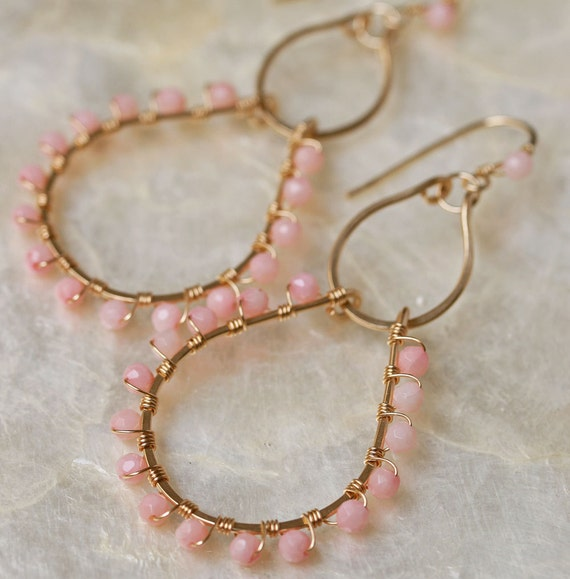 Coral Earrings- Coral Jewelry - Chandelier Earrings - Blush Coral Earrings - Gold Hoop Earrings- Hammered Hoop Earrings
