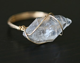 Herkimer Diamond Ring, Raw Crystal Ring, Wire Wrapped Ring