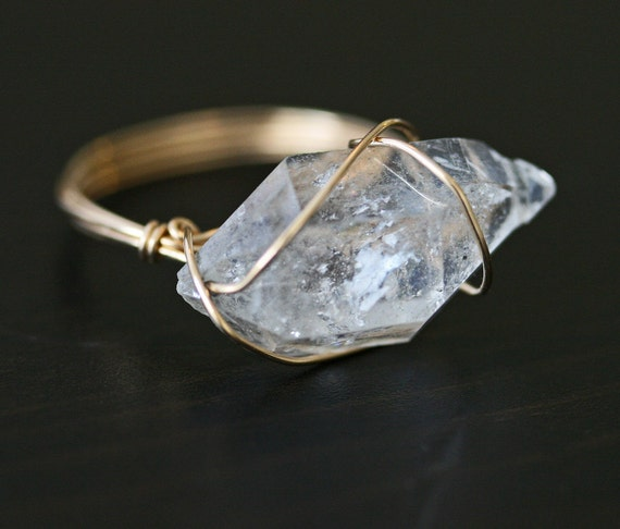 Herkimer Diamond Ring, Crystal Ring, Crystal Point Ring, Raw Stone Ring, Wire Wrapped Ring