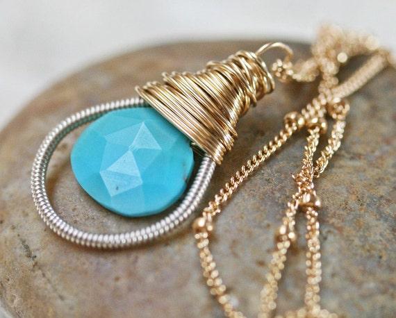 Turquoise Necklace - Turquoise Pendant Necklace - Sleeping Beauty Turquoise