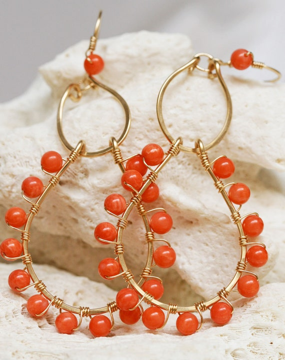 Coral Earrings - Gold Hoop Earrings - Chandelier Earrings - Gold Hoop Earrings with Coral, Hammered Gold Earrings, Coral Jewelry