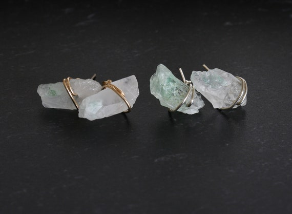 Raw Green and White Quartz Crystal Stud Earrings