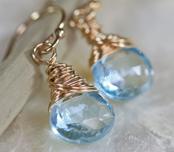 Blue Topaz Earrings in Gold