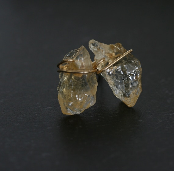 Raw Citrine Crystal Stud Earrings