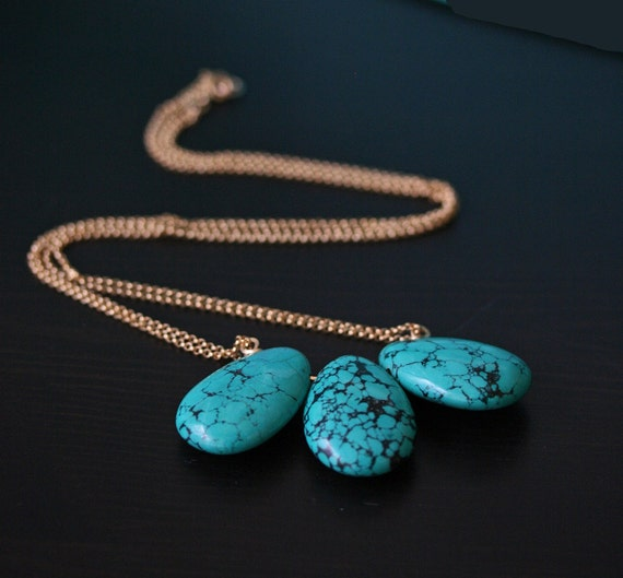 3 Stone Turquoise Necklace