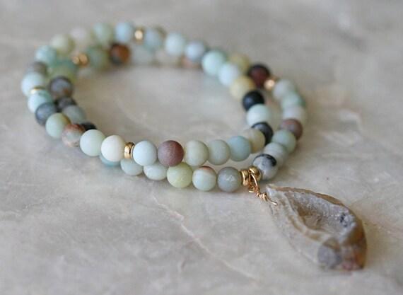 Geode Bracelet, Amazonite Bracelet, Stretch Bracelet, Stacking Bracelet, Beaded Bracelet, Layered Bracelet, Matt Amazonite Bracelet