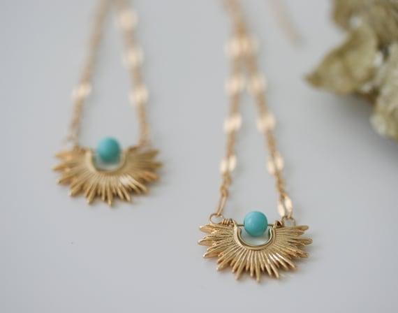 Gold Starburst Earrings, Gold Statement Earrings, Sleeping Beauty Turquoise, 14k Gold Filled Earrings, Mid-Century Starburst Earrings
