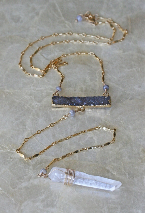 Long Druzy Necklace with Crystal Pendant
