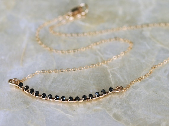 Delicate Black and Gold Layering Necklace with Spinel Gemstone