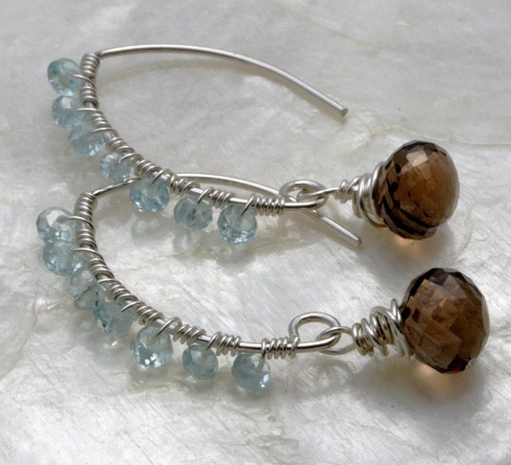 Aquamarine Earrings - Smoky Quartz Earrings - Sterling Silver Earrings