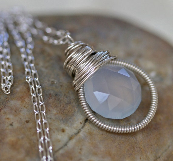 Grey Chalcedony Necklace on Sterling Silver Cable Chain