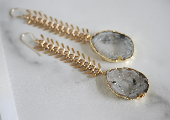 Gold Chunky Chain Earrings with Geodes
