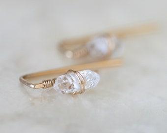 Herkimer Diamond Huggie Earrings, Tiny Herkimer Diamond Earrings, Gold Earrings, Minimalist Gold Earrings, Gold Crawler Earrings, Gold Bar