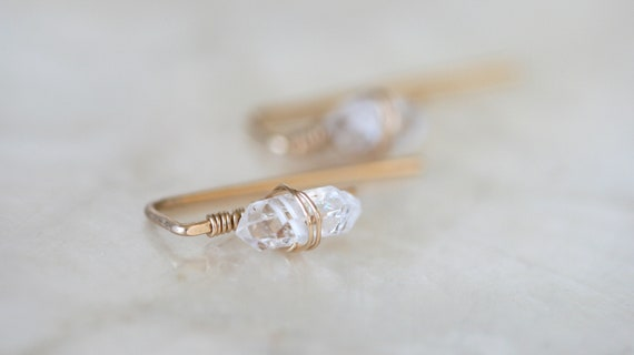 Herkimer Diamond Huggie Earrings