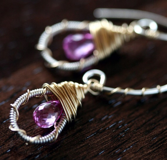 Pink Earrings - Hoop Earrings - Wire Wrapped Earrings