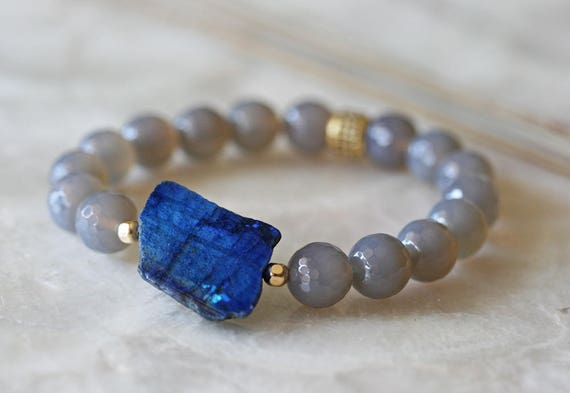 Labradorite and Onyx Stretch Band Bracelet