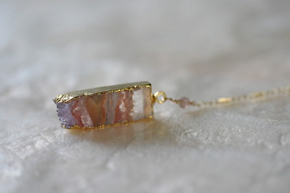 Raw Amethyst Slice Necklace in Gold
