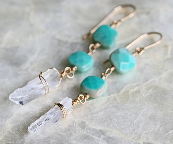 Chrysoprase and Crystal Point Earrings
