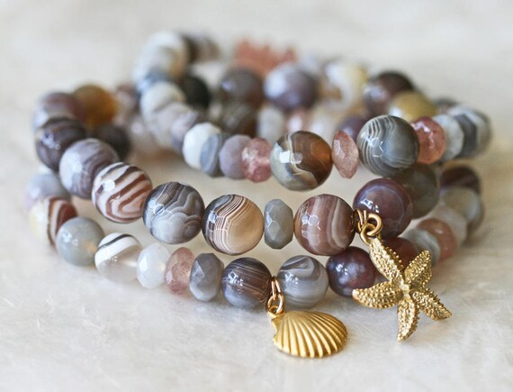 Stretch Bracelet, Botswana Agate Natural Stone Bracelet, Ocean Jewelry, Star Fish Charm, Shell Charm, Stacking Bracelets, Beaded Bracelet