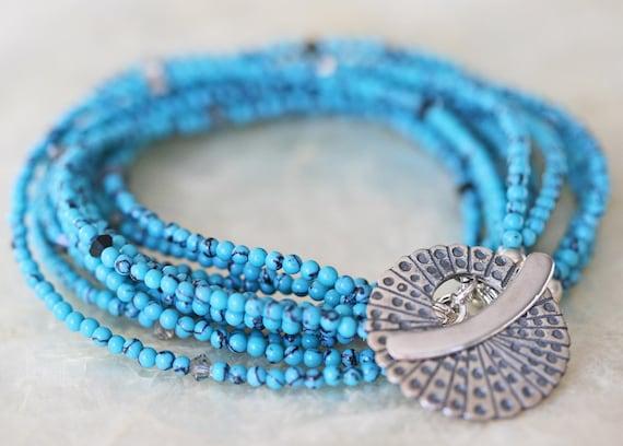 Turquoise Bracelet, Multi Strand Bracelet, Boho Bracelet, Boho Jewelry, Howlite Bracelet, Southwestern Jewelry