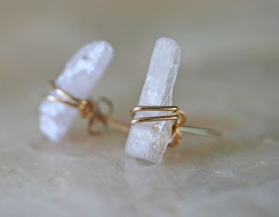 Raw Kunzite Stud Earrings