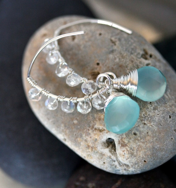 Chalcedony and Moonstone Open Hoop Earrings