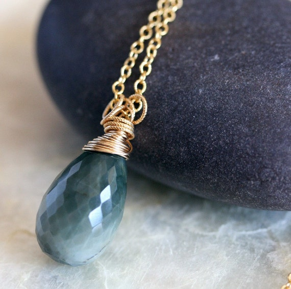 Cats Eye Necklace -  Green Pendant Necklace - Green and Gold Jewelry