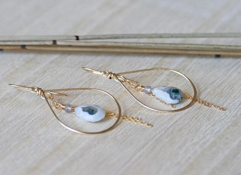 Peacock Solar Quartz Earrings Hoop Earrings with White Stone Hoop Earrings Solar Quartz Earrings Quartz Earrings Stone Hoop Earrings