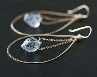 Herkimer Diamond Earrings, Gold Hoop Earrings, Hoop Earrings, Crystal Earrings, Raw Crystal Earrings, Hammered Earrings, Quartz Earrings