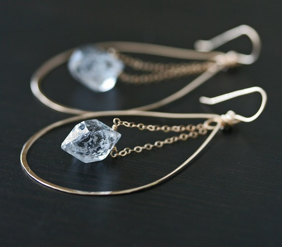 Herkimer Diamond Hoop Earrings