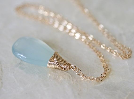 Chalcedony Necklace, Aqua Chalcedony, Ready to Ship, Blue Pendant, Light Blue Necklace,  Aqua Stone, Blue Stone