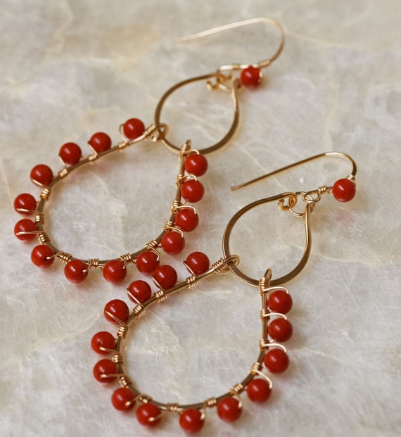 Coral Chandelier Earrings in Gold