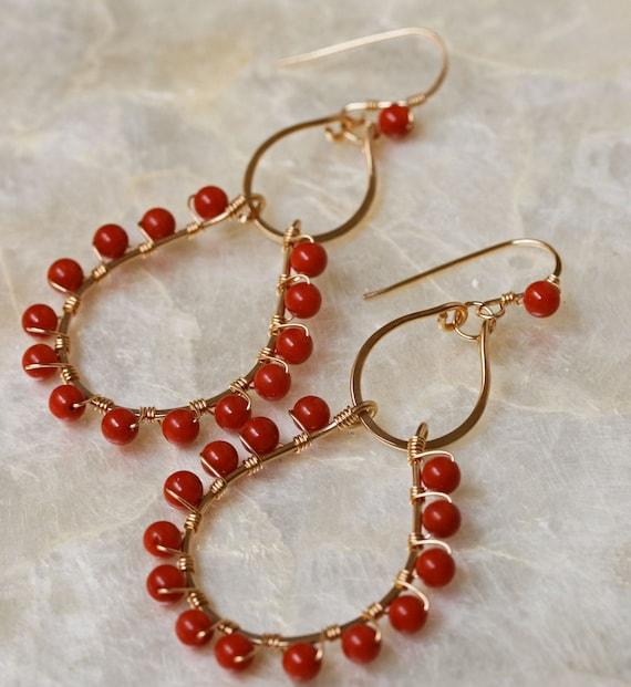Coral Chandelier Earrings in Gold