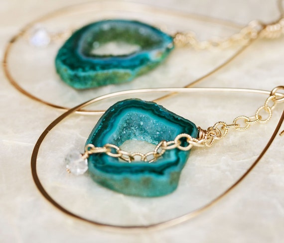 Green Geode Slice Hoop Earrings
