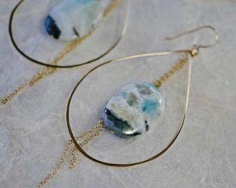 Gold Hoop Earrings, Jasper Earrings, Statement Earrings, Bold Gold Earrings, Hoop Earrings with Blue Stone, Hammered Gold Earrings