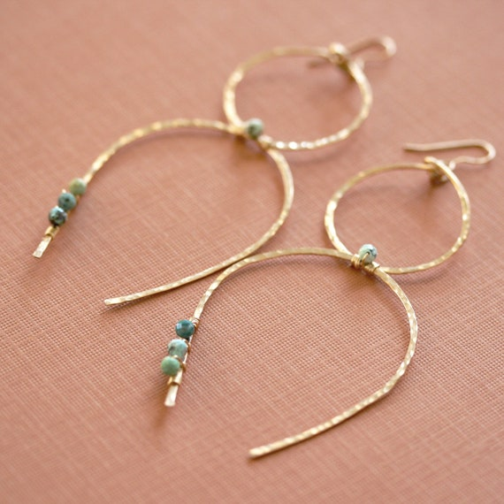 Hammered Gold Hoop Earrings with Turquoise