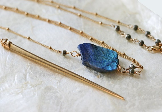 Labradorite Necklace, Raw Labradorite Necklace, Labradorite Slice Necklace, Spike Necklace, Y Necklace, Long Gold Necklace