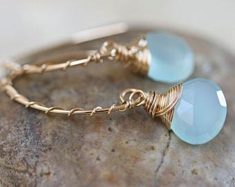 Chalcedony Earrings, Open Hoop Earrings, Aqua Chalcedony Earrings, Blue Stone Earrings, Light Blue Earrings, Small Earrings