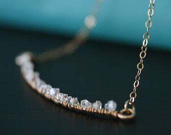 Herkimer Diamond Necklace, Crystal Necklace, Quartz Necklace, Layering Necklace, Diamond Necklace, Herkimer Diamond Jewelry