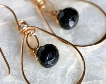 Gold Hoop Earrings, Small Gold Hoop Earrings, Black Garnet Earrings, Hammered Hoop Earrings, Hammered Gold Earrings