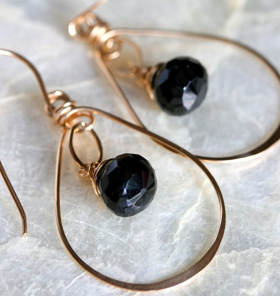 Gold Hoop Earrings, Small Gold Hoop Earrings, Black Garnet Earrings, Hammered Hoop Earrings, Hammered Gold Earrings