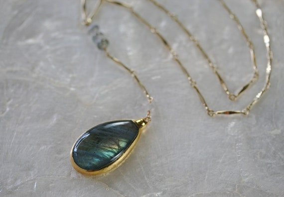 Gold Labradorite Y Necklace