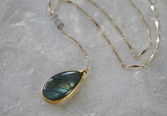 Gold Labradorite Y Necklace
