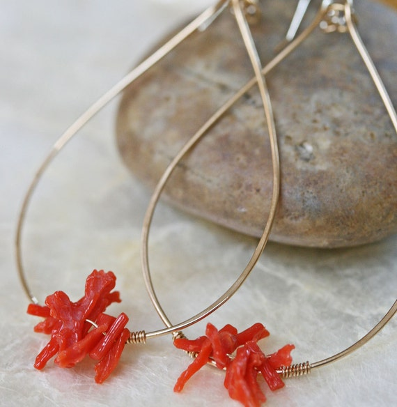 Coral Branch Hoop Earrings